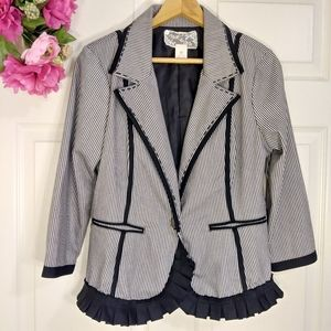 Nick & Mo white black stripe ruffle blazer